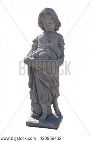 Stone sculpture of girl holding puppies in basket on white background. art and classical style romantic figurative stone sculpture.