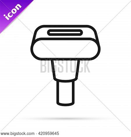 Black Line Portable Home And Travel Garment Steamer For Clothes Icon Isolated On White Background. V