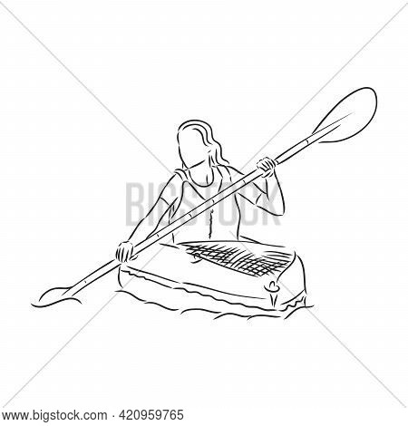 Kayak With Paddle Hand Drawn Outline Doodle Icon. Kayaking Vector Sketch Illustration For Print, Web