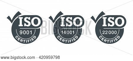 Iso 9001, 14001 And 22000 Certified Flat Pictograms Set With Big Check Marks - Quality Management Sy