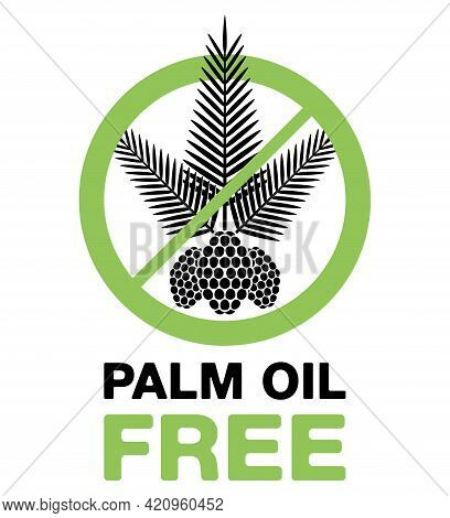 Palm Oil Free Flat Pictogram - Palm Branch And Seeds - Marking For Unavailability Of Harmful Food In