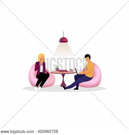 Colleagues, Co Workers Have Rest, Break Flat Illustration. Coworkers, Employees At Lounge Zone. Offi