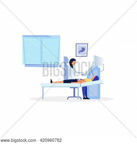 Sonographer Examining Digestive System Flat Vector Illustration. Doctor, Therapist Doing Diagnostic