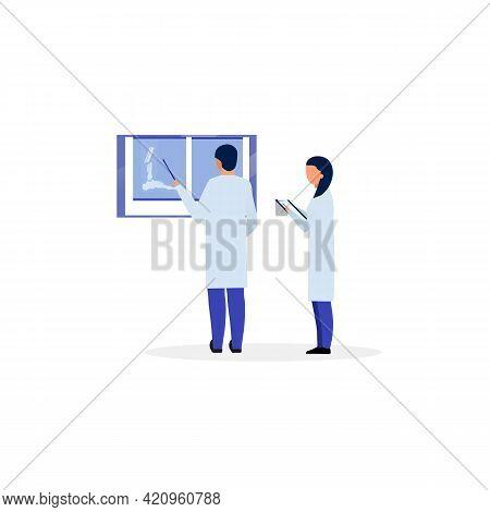 Orthopedist, Traumatologist Reading Fracture X Ray Flat Illustration. Trauma, Injury Diagnosing And