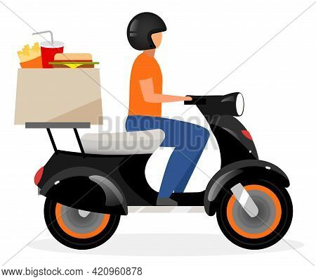 Fast Food Delivery Courier Flat Vector Illustration. Deliveryman Driving Motorbike With Food Parcel