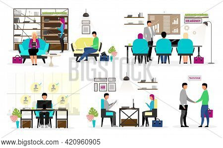 Hr Agency Workers Flat Vector Characters Set. Headhunters Selecting Candidates. Job Search, Employme