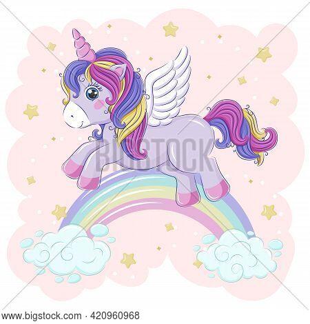 A Cute Unicorn Flying Over The Rainbow, Across The Starry Sky. Vector Illustration. Eps10.