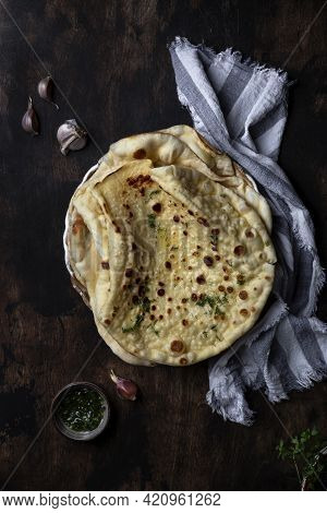 Homemade Indian Naan Flatbread Made With Butter And Dill