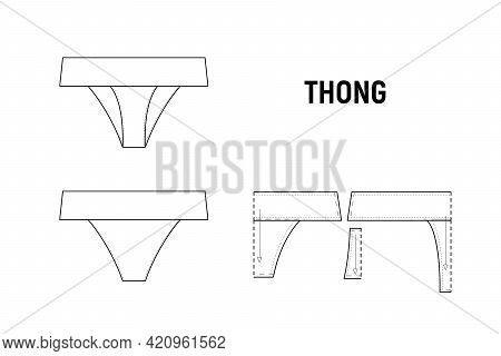 The Thong Panties For Woman Vector Illustration.