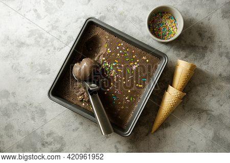 Chocolate Ice Cream Or Sorbet Made From Vegan Milk, Bananashoney And Chocolate.