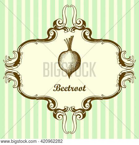 Beetroot Icon. Hand Drawn Sketch Design. Vector Illustration.