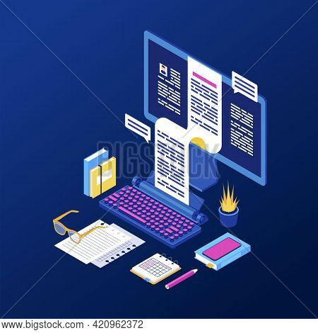 Copywriting, Content Creation Isometric Vector Illustration. Book, Article, Essay Writing 3d Concept