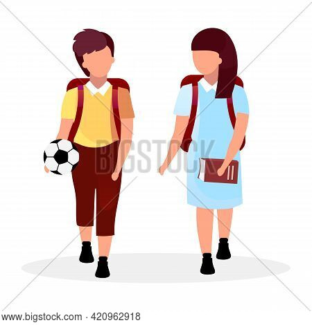 Classmates Flat Vector Illustration. Schoolboy And Schoolgirl With Backpacks Cartoon Characters Isol