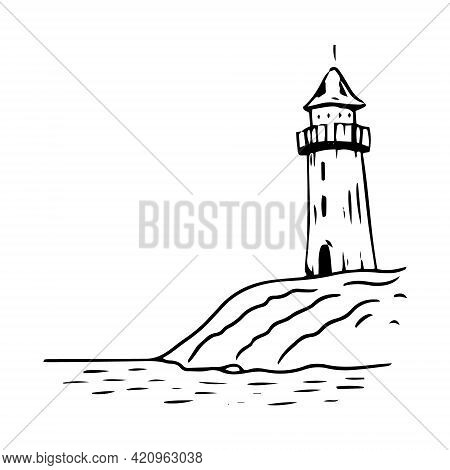 The Sea Lighthouse On The Cliff Is Hand-drawn In Sketch Style. Lighthouse In The Style Of Graphics