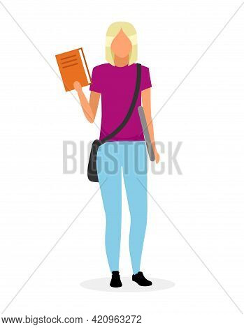 Teenage Schoolgirl With Textbook Flat Vector Illustration. University Student Holding Book And Lapto