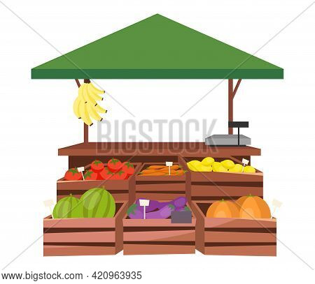Fruits And Vegetables Market Stall Flat Illustration. Farm Products, Eco And Organic Food Trade Tent