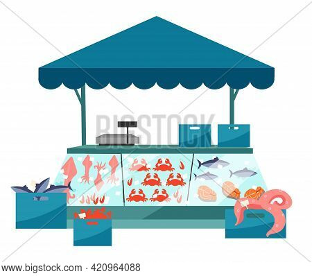 Seafood Market Stall Flat Illustration. Fresh Sea Food In Ice Trade Tent, Fish Counter. Fair, Summer