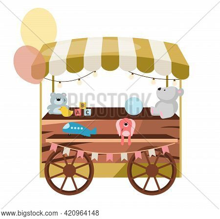 Street Market Wooden Cart With Toys Flat Vector Illustration. Retro Fair, Funfair Store Stall On Whe