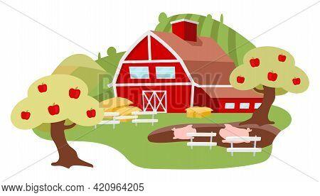Countryside Farm Yard Flat Illustration. Livestock Farming Cartoon Concept Isolated On White Backgro