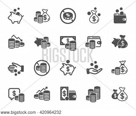 Coins Simple Icons. Cash Money, Donation Coins, Give Tips Icons. Piggy Bank, Business Income, Loan.