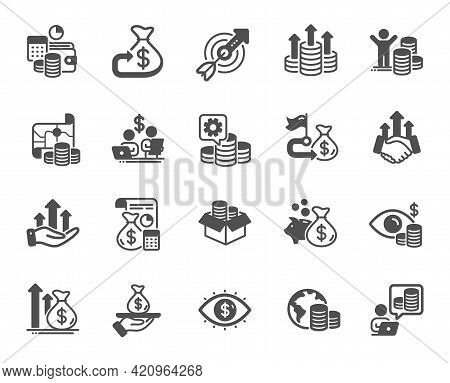 Finance Simple Icons. Accounting Coins, Budget Investment, Trade Strategy Icons. Finance Management,