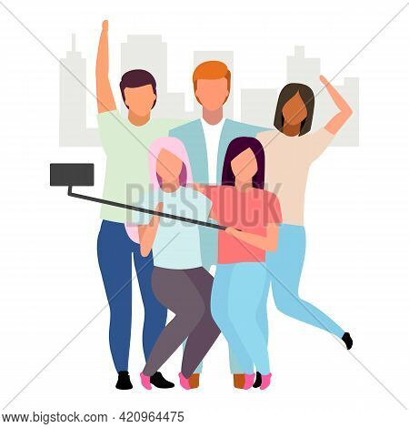 Friends Taking Selfie Flat Vector Illustration. People Group Making Photo With Phone And Monopod Car