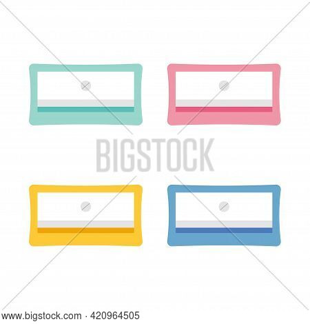 Set Of Colorful Plastic Pencil Sharpeners Isolated On White Background. School Accessories.