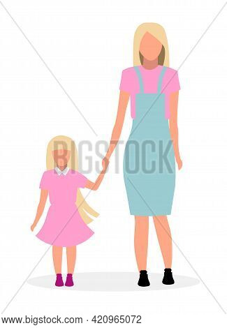Blonde Mother With Cute Daughter Flat Vector Illustration. Parent With Preschool Girl Holding Hand C