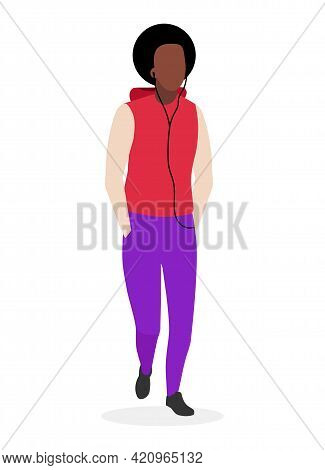 African American Guy With Curly Hairstyle Flat Illustration. Young Dark Skinned, Black Cool Man In C