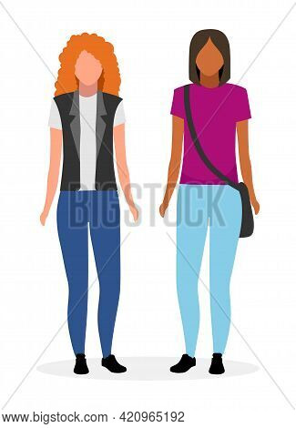Young Girls Flat Vector Illustration. Woman And Red Haired Lady Cartoon Characters Isolated On White