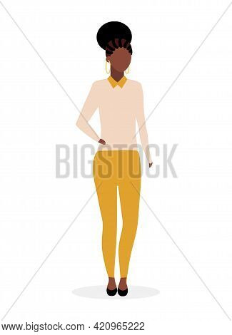 Afro American Girl Flat Vector Illustration. Black Stylish Woman With Dreads And Curly Hairstyle. Da