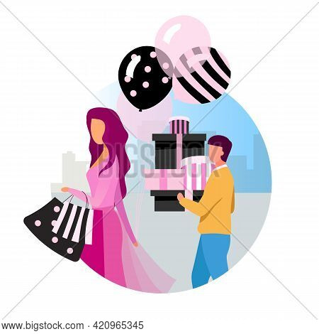 Shopping Flat Concept Vector Icon. Black Friday, Holiday Sales Sticker, Clipart. Buyer With Purchase