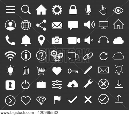 Web Interface And Application Icon Collection. Internet Page And Website Vector Symbol Sign Set.