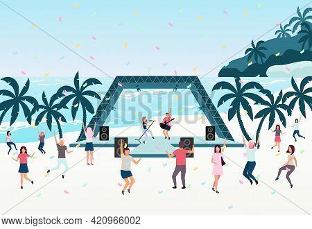 Beach Party Flat Vector Illustration. Open Air Live Performance. Rock, Pop Musician Concert In Park,