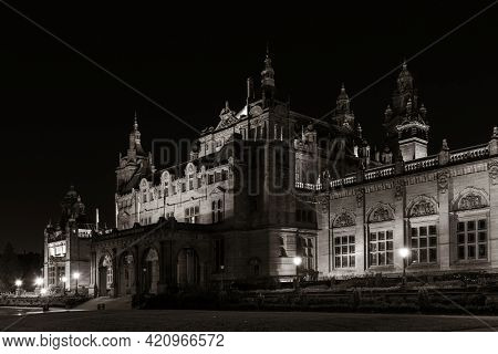 Glasgow University campus view with historical architecture at night in Scotland, United Kingdom