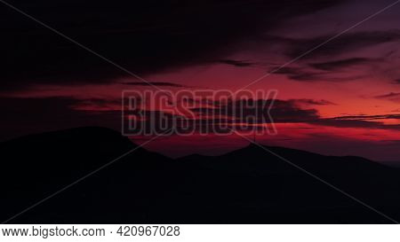Sunset In Mountains. Night Is Falling. Nature Landscape In Province Of Burgos, Castile And Leon Comm
