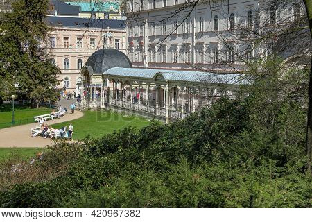Karlovy Vary, Czech - April 26, 2012: This Is The Garden Colonnade With Mineral Water Fountains In T