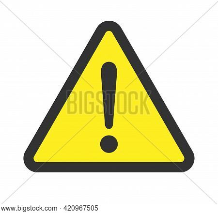 Exclamation Mark Vector Icon. Warning And Caution Triangle Sign. Danger And Error Logo Symbol. Appli