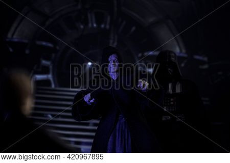 MAY 17 2021: scene from Star Wars Return of the Jedi, Sith Emperor Palpatine confronts Luke Skywalker, Vader watches - Hasbro action figures