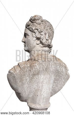 Side view of ancient stone sculpture of man's bust on white background. art and classical style romantic figurative stone sculpture.