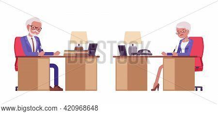Handsome Old Man, Woman Elderly Businesspeople In Elegant Suit At Work Desk. Bossy Senior Manager, G