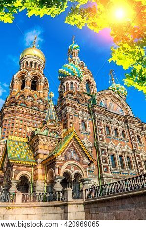 St Petersburg, Russia -cathedral Of Our Savior On Spilled Blood In St Petersburg In Sunny Day. Archi
