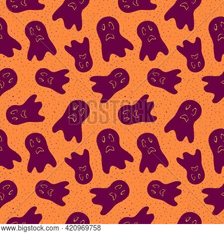 Halloween Pattern. Vector Seamless Background With Spooky Ghosts, Cartoon Silhouettes. Purple And Or