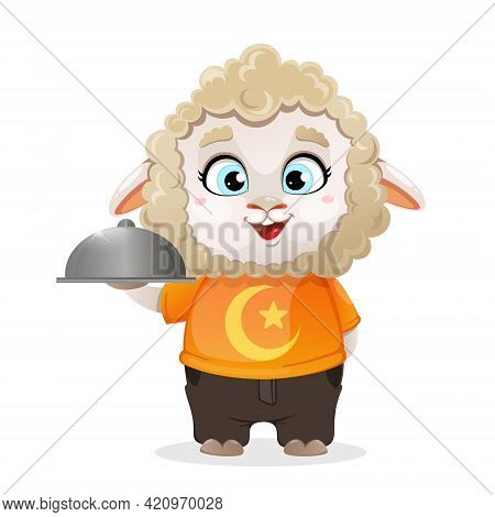 Eid Al-adha Mubarak. Funny Cartoon Character Ram Holding Domed Tray. Kurban Bayrami. Vector Illustra