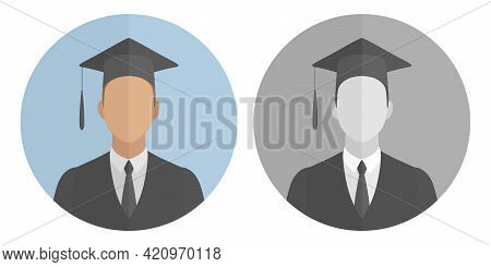 University Graduate In Mortarboard. Cartoon Style. Vector Icon.