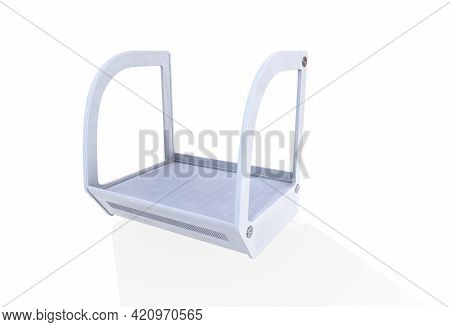 Showcase For Products, Goods, Medical Laboratories. Empty Glass Exhibition Stand, Platform In Neon L