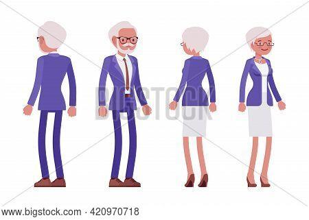 Handsome Old Man, Woman Elderly Businesspeople In Elegant Suit Full Length. Bossy Senior Manager, Gr
