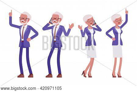 Handsome Old Man, Woman Elderly Businesspeople In Elegant Suit Phone Talk. Bossy Senior Manager, Gra
