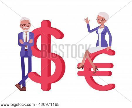 Handsome Old Man, Woman Elderly Businesspeople With Giant Dollar, Euro Sign. Bossy Senior Manager, G