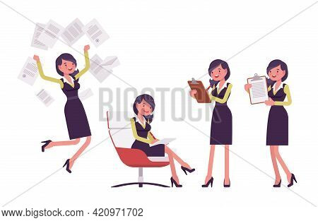 Attractive Businesswoman, Woman In Secretary Pencil Office Dress With Paper. Successful Female Manag